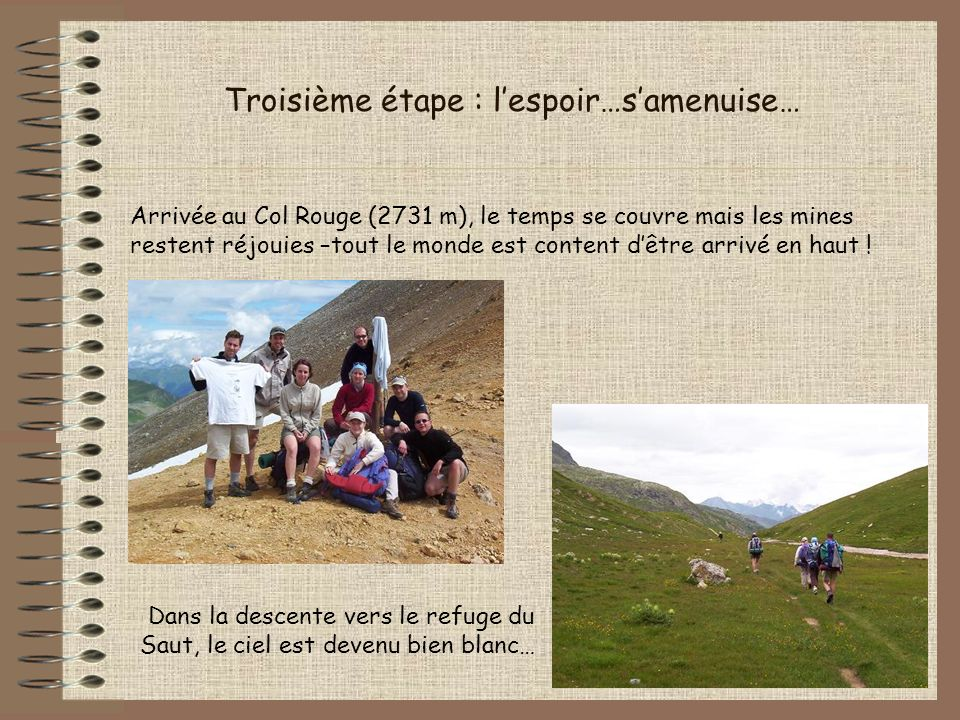 Troisième étape : lespoir…samenuise… Arrivée au Col Rouge (2731 m), le temps se couvre mais les mines restent réjouies –tout le monde est content dêtr