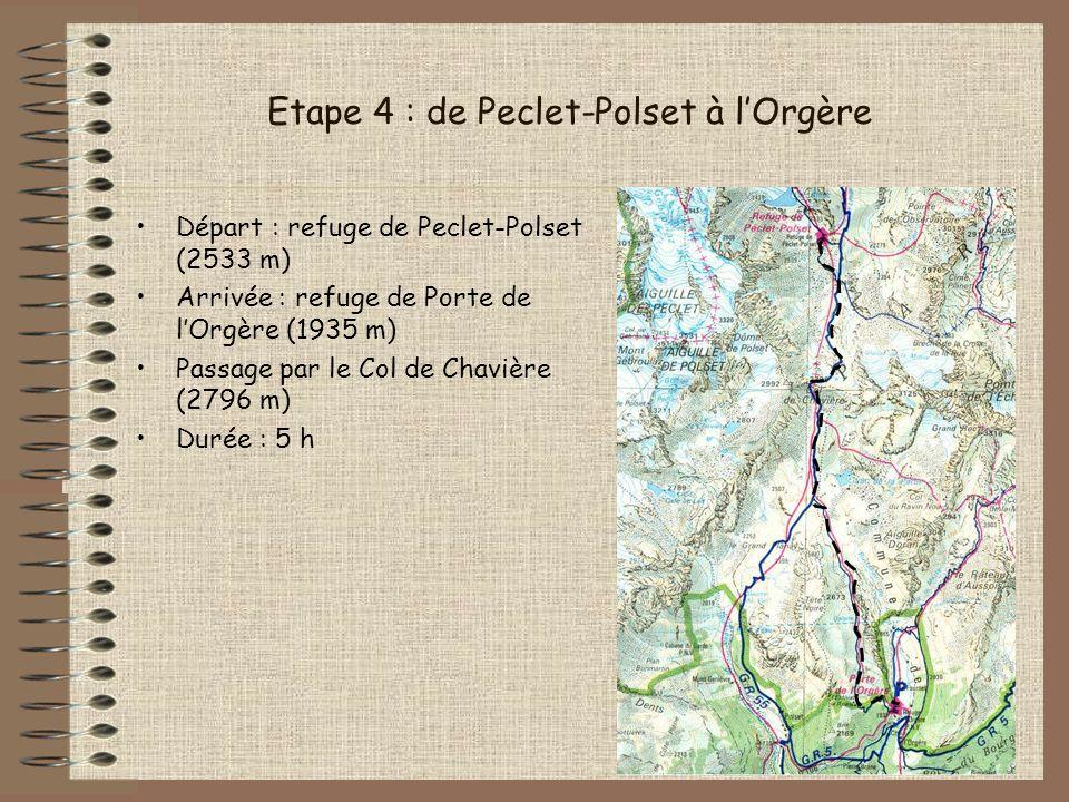 Etape 4 : de Peclet-Polset à lOrgère Départ : refuge de Peclet-Polset (2533 m) Arrivée : refuge de Porte de lOrgère (1935 m) Passage par le Col de Cha