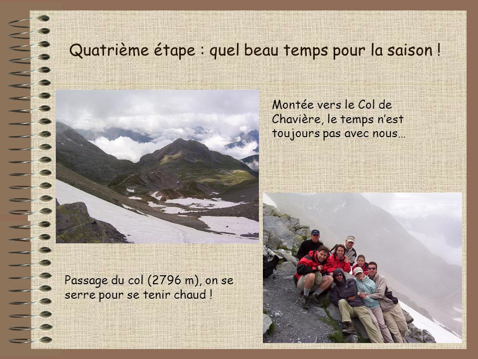 Quatrième étape : quel beau temps pour la saison ! Montée vers le Col de Chavière, le temps nest toujours pas avec nous… Passage du col (2796 m), on s