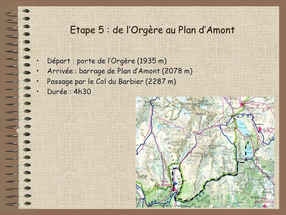 Etape 5 : de lOrgère au Plan dAmont Départ : porte de lOrgère (1935 m) Arrivée : barrage de Plan dAmont (2078 m) Passage par le Col du Barbier (2287 m