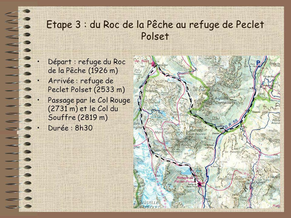 Etape 3 : du Roc de la Pêche au refuge de Peclet Polset Départ : refuge du Roc de la Pêche (1926 m) Arrivée : refuge de Peclet Polset (2533 m) Passage