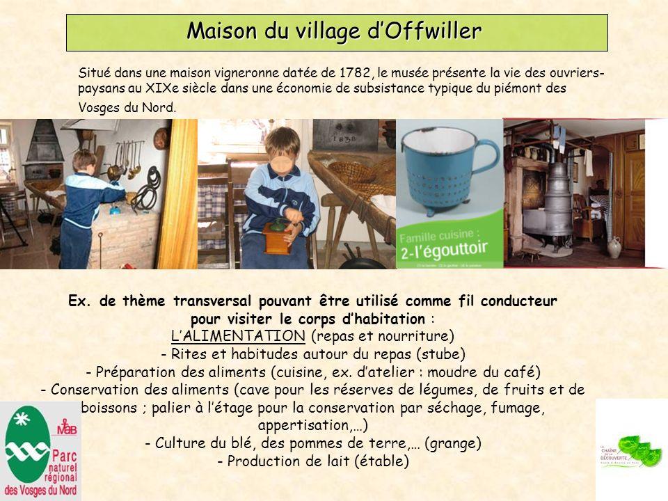 Maison du village dOffwiller Situé dans une maison vigneronne datée de 1782, le musée présente la vie des ouvriers- paysans au XIXe siècle dans une économie de subsistance typique du piémont des Vosges du Nord.