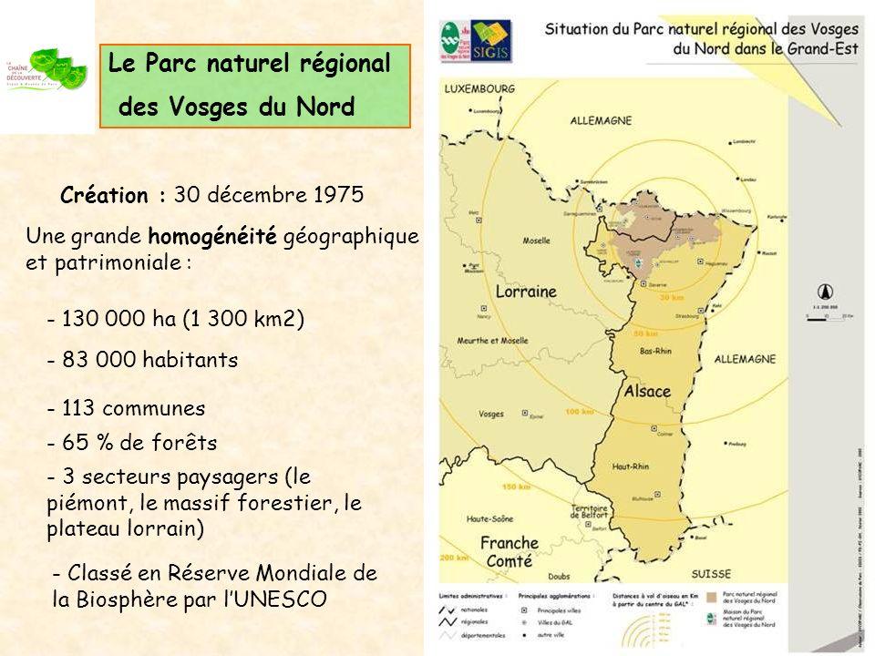 Le Parc naturel régional des Vosges du Nord Création : 30 décembre 1975 Une grande homogénéité géographique et patrimoniale : - 130 000 ha (1 300 km2) - 83 000 habitants - 113 communes - 65 % de forêts - 3 secteurs paysagers (le piémont, le massif forestier, le plateau lorrain) - Classé en Réserve Mondiale de la Biosphère par lUNESCO