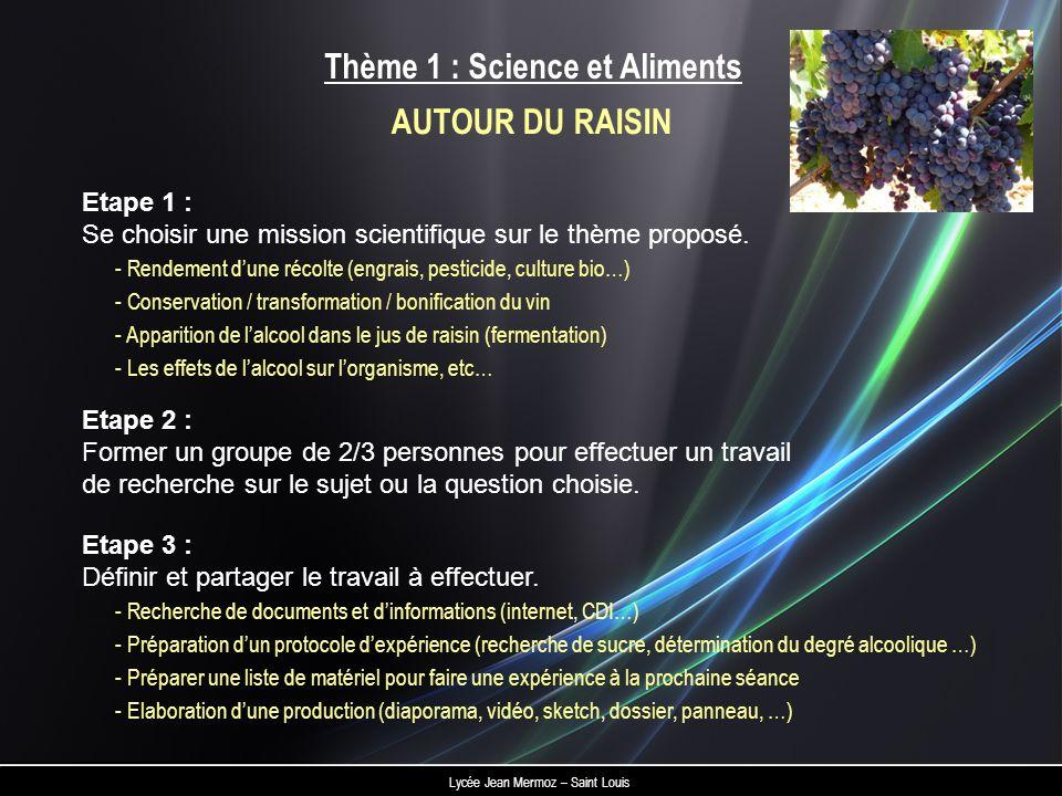 Lycée Jean Mermoz – Saint Louis Thème 1 : Science et Aliments Etape 2 : Former un groupe de 2/3 personnes pour effectuer un travail de recherche sur l