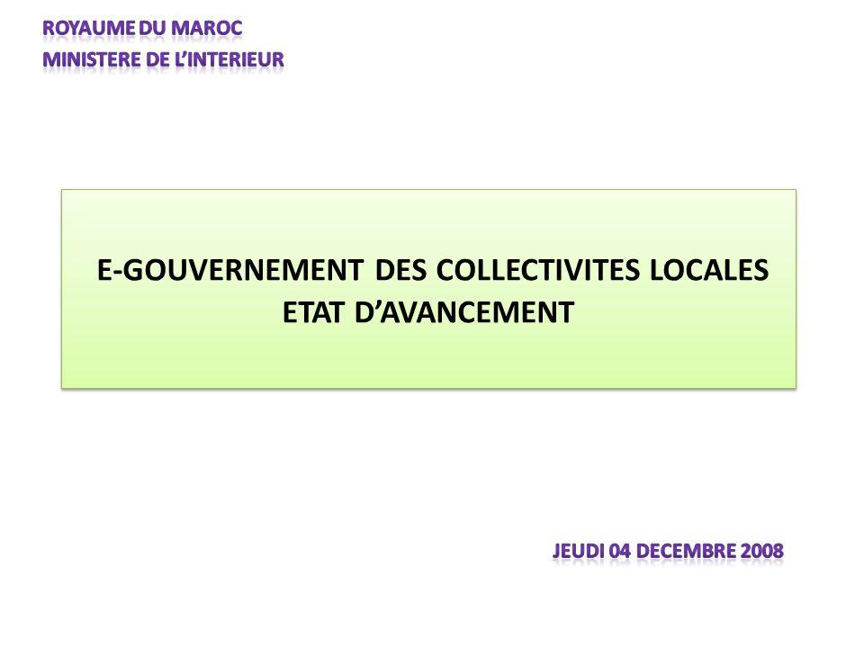 E-GOUVERNEMENT DES COLLECTIVITES LOCALES ETAT DAVANCEMENT