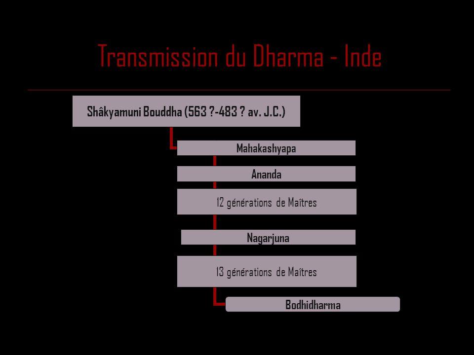 Transmission du Dharma - Chine Eno (638- 713) Nangaku (677- 744) Seigen (660 ?-740) Bodhidharma (470 ?-543 ?) Eka (487-593) Doshin (580-651) Konin (601-674) Sosan (mort 606)