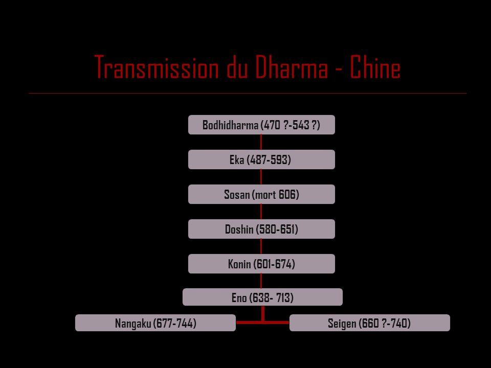 Transmission du Dharma - Chine Eno (638- 713) Nangaku (677- 744) Seigen (660 ?-740) Bodhidharma (470 ?-543 ?) Eka (487-593) Doshin (580-651) Konin (60