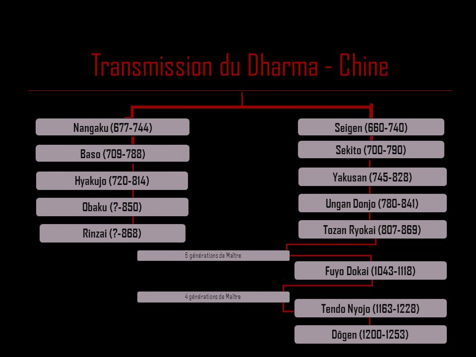 Transmission du Dharma - Chine Nangaku (677-744) Baso (709-788) Seigen (660-740) Sekito (700-790) Hyakujo (720-814) Obaku (?-850) Rinzai (?-868) Yakus