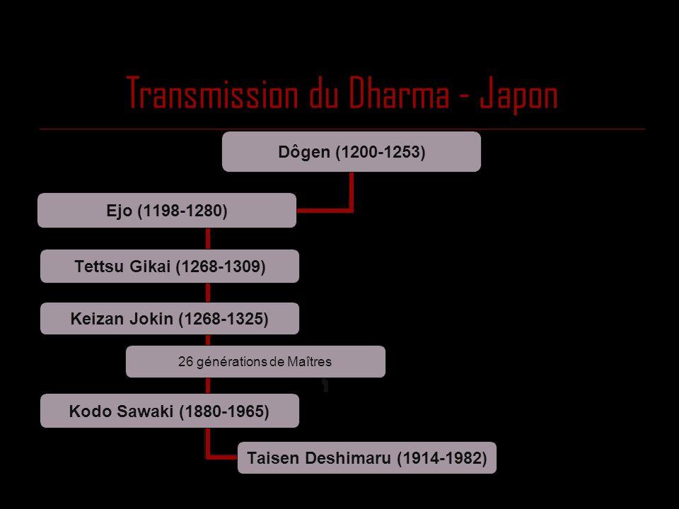 Transmission du Dharma - Japon 26 générations de Maîtres