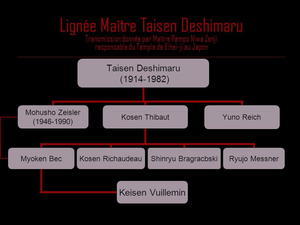 Lignée Maître Taisen Deshimaru Transmission donnée par Maître Rempo Niwa Zenji responsable du Temple de Eihei-ji au Japon