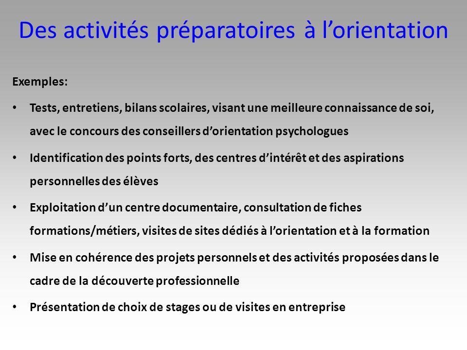 Des activités préparatoires à lorientation Exemples: Tests, entretiens, bilans scolaires, visant une meilleure connaissance de soi, avec le concours d