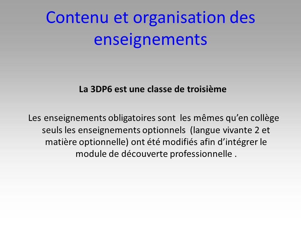 Contenu et organisation des enseignements La 3DP6 est une classe de troisième Les enseignements obligatoires sont les mêmes quen collège seuls les ens