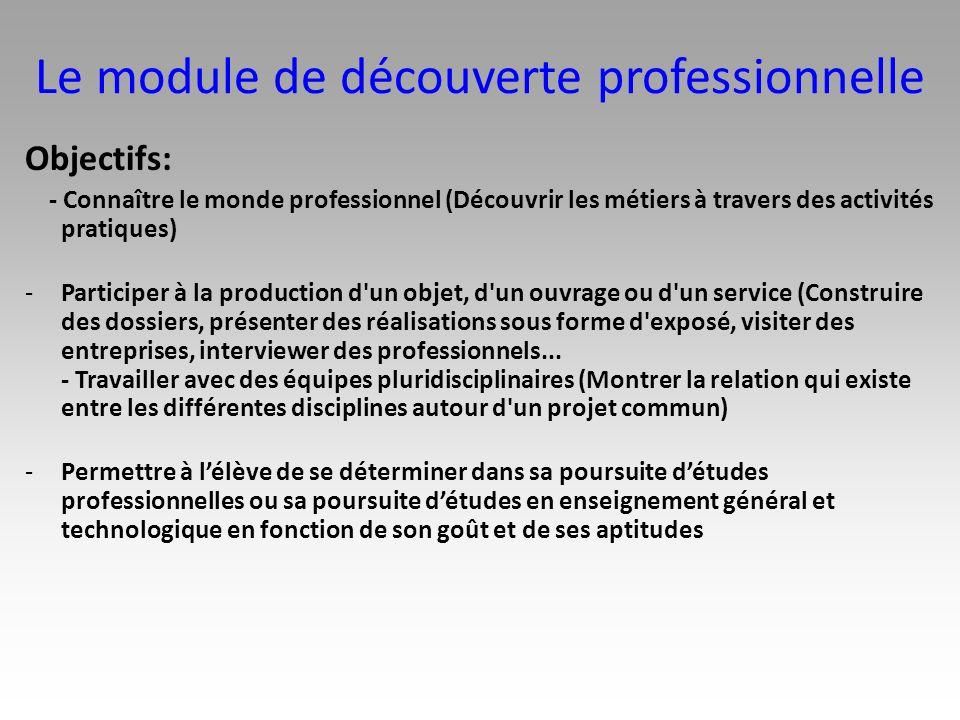 Le module de découverte professionnelle Objectifs: - Connaître le monde professionnel (Découvrir les métiers à travers des activités pratiques) -Parti