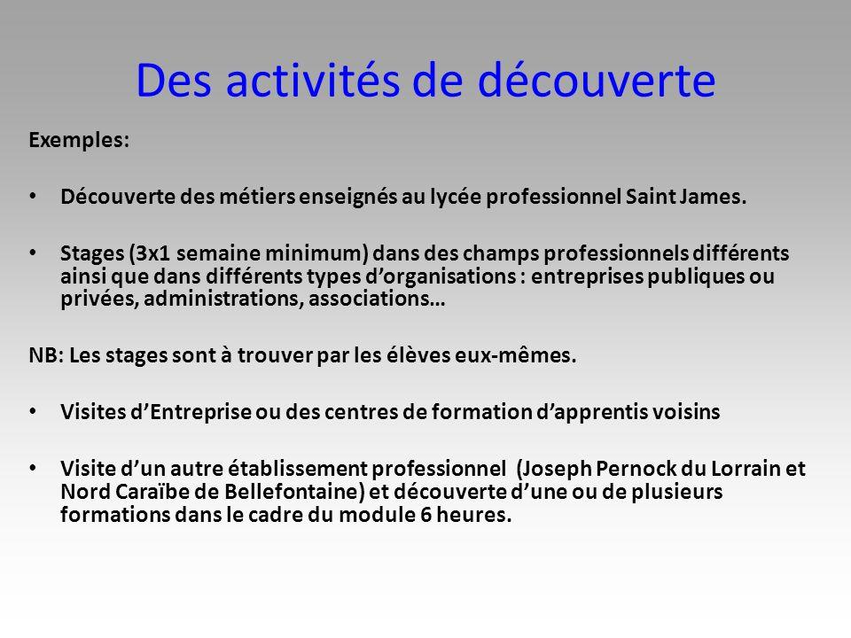 Des activités de découverte Exemples: Découverte des métiers enseignés au lycée professionnel Saint James. Stages (3x1 semaine minimum) dans des champ