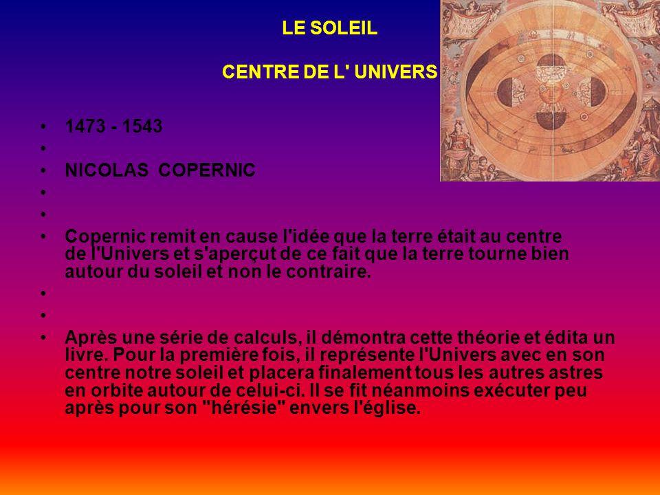LA TERRE REVIENT AU CENTRE DE L' UNIVERS 90 - 168 après JC CLAUDE PTOLÉMÉE L'astronome grec replaça la Terre au centre de l'Univers entourée par le so