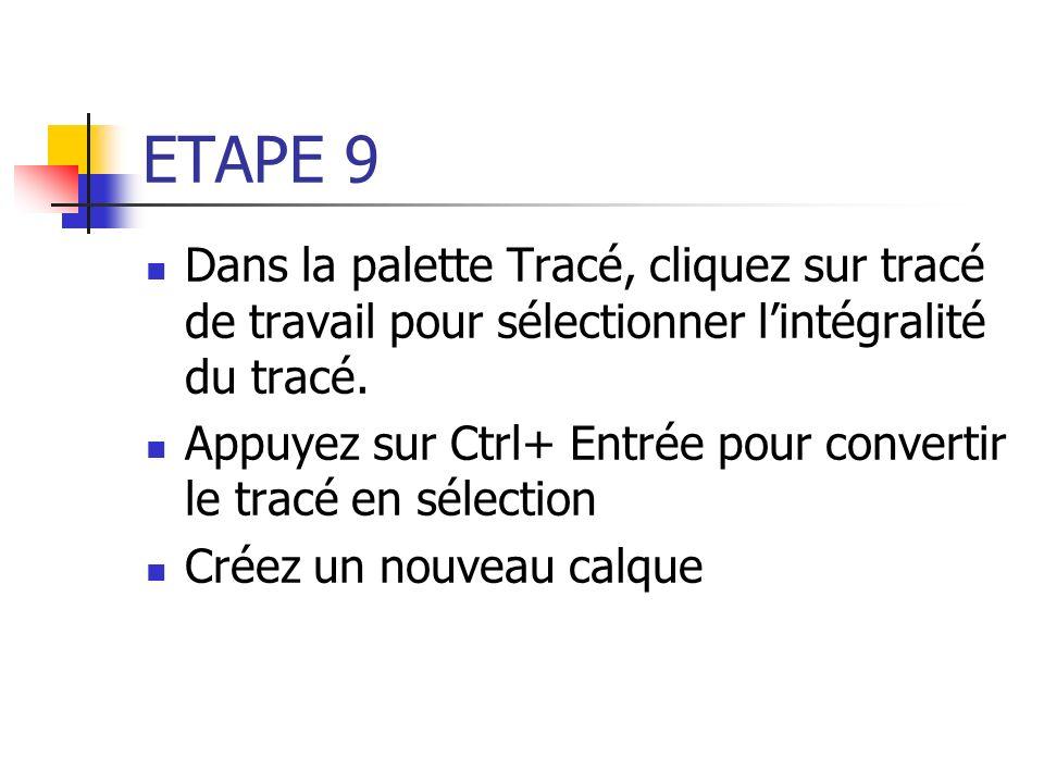 ETAPE 9 Dans la palette Tracé, cliquez sur tracé de travail pour sélectionner lintégralité du tracé. Appuyez sur Ctrl+ Entrée pour convertir le tracé