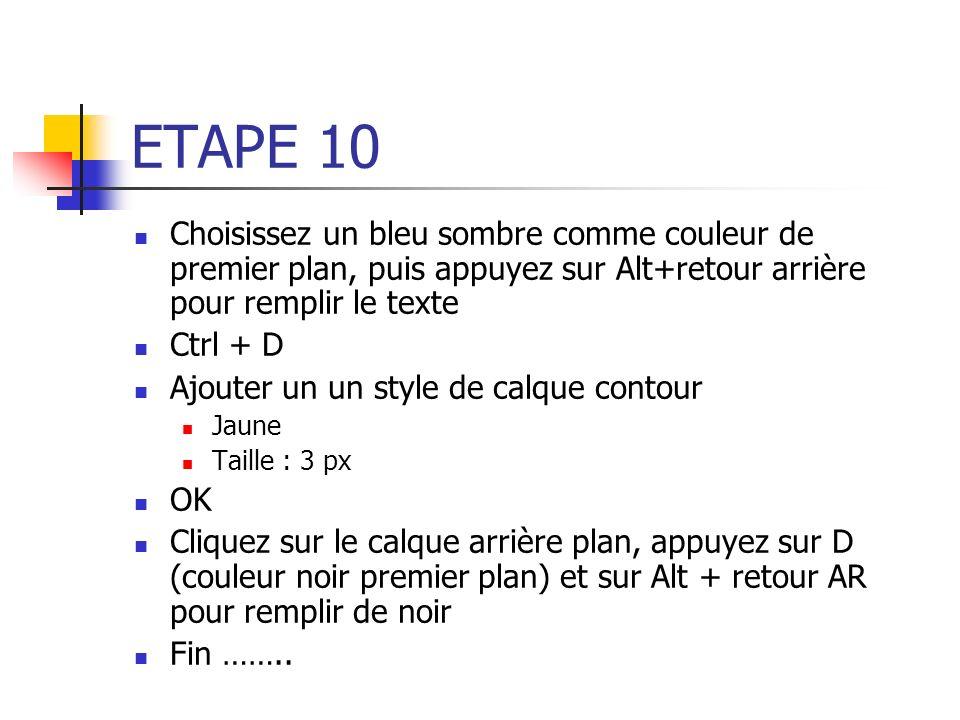ETAPE 10 Choisissez un bleu sombre comme couleur de premier plan, puis appuyez sur Alt+retour arrière pour remplir le texte Ctrl + D Ajouter un un sty