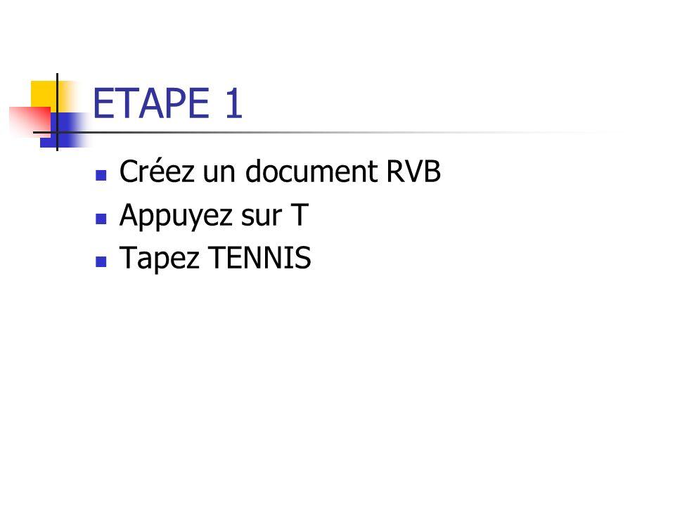 ETAPE 1 Créez un document RVB Appuyez sur T Tapez TENNIS