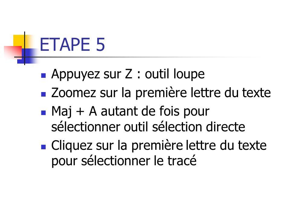 ETAPE 5 Appuyez sur Z : outil loupe Zoomez sur la première lettre du texte Maj + A autant de fois pour sélectionner outil sélection directe Cliquez su