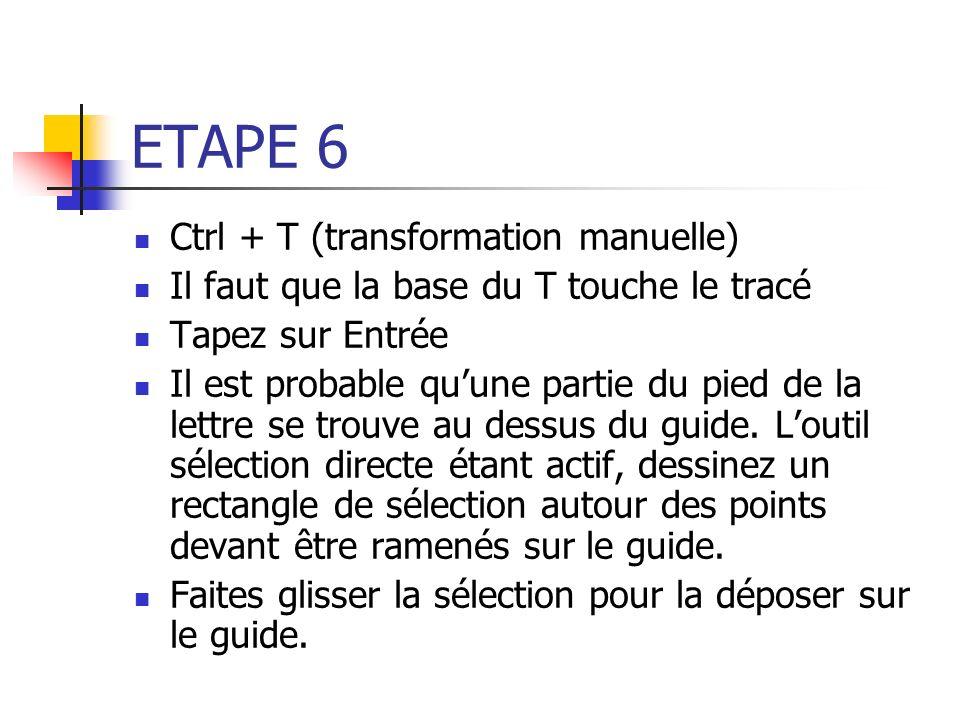 ETAPE 6 Ctrl + T (transformation manuelle) Il faut que la base du T touche le tracé Tapez sur Entrée Il est probable quune partie du pied de la lettre