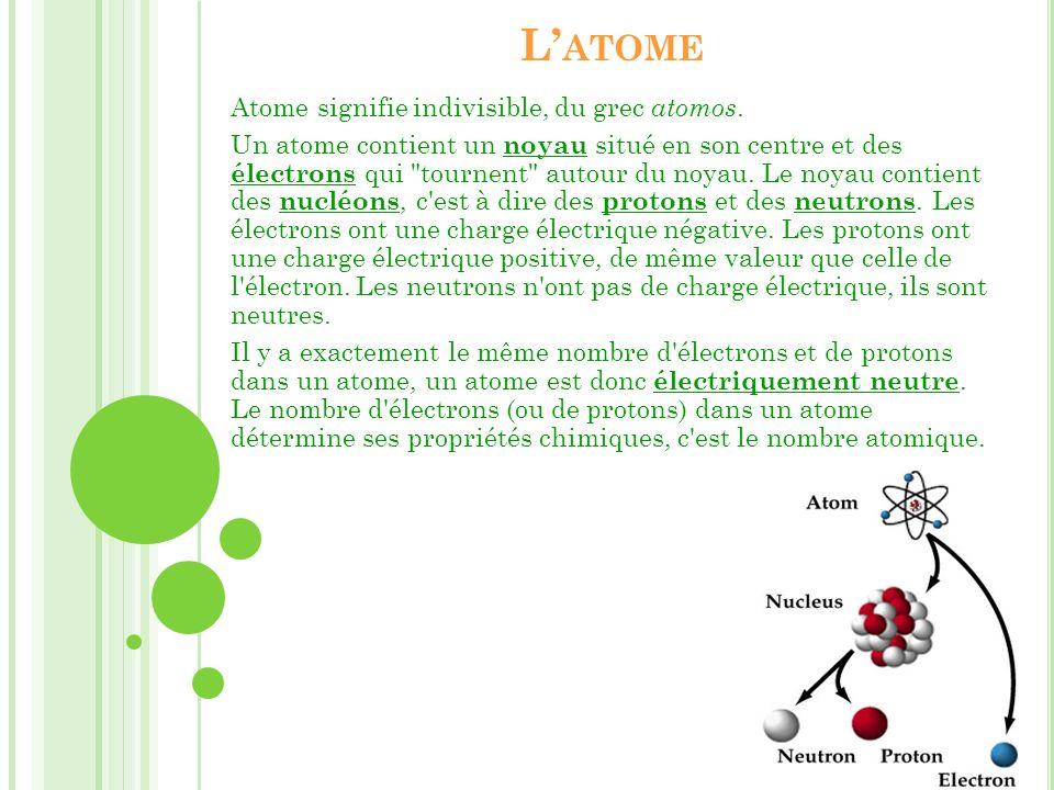 L ATOME Atome signifie indivisible, du grec atomos. Un atome contient un noyau situé en son centre et des électrons qui