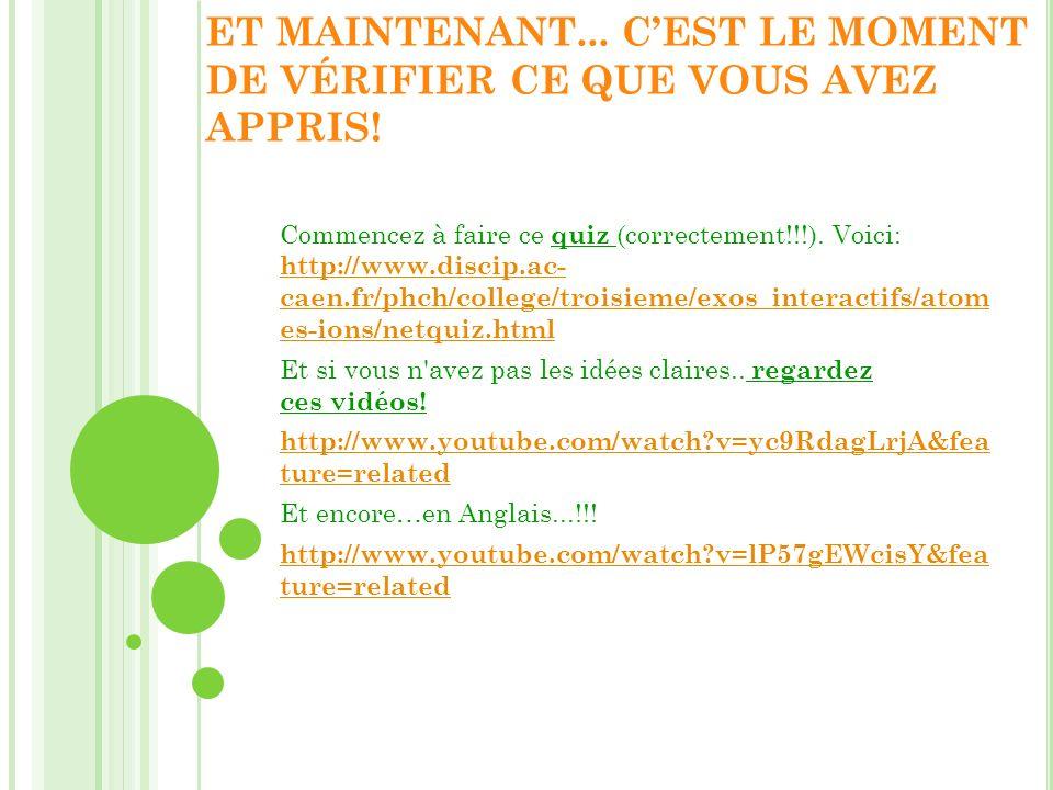 ET MAINTENANT... CEST LE MOMENT DE VÉRIFIER CE QUE VOUS AVEZ APPRIS! Commencez à faire ce quiz (correctement!!!). Voici: http://www.discip.ac- caen.fr