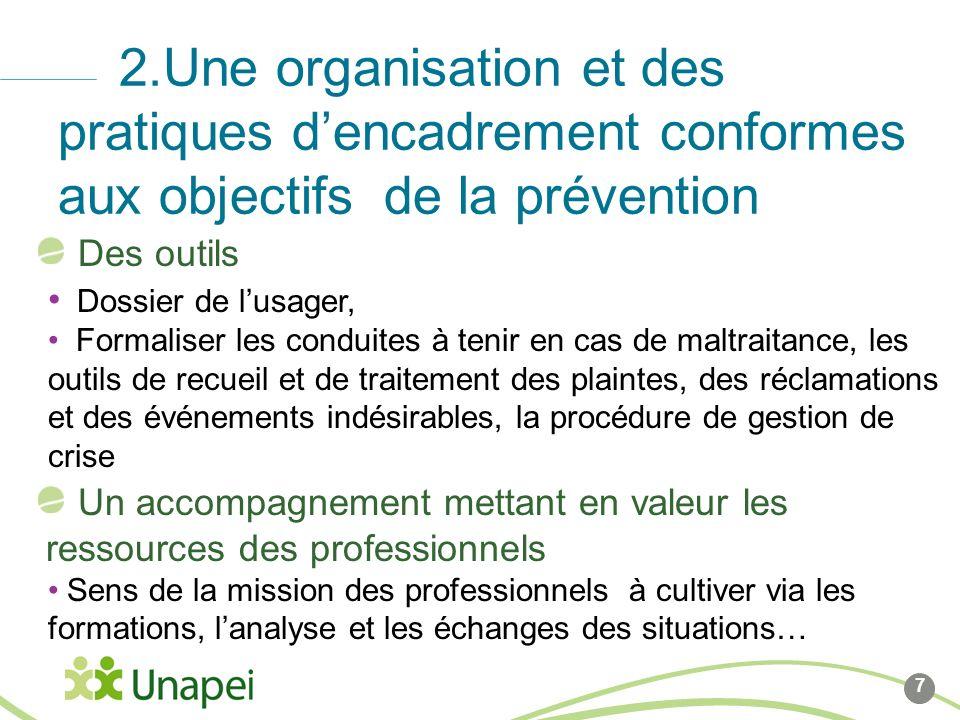 8 2.Une organisation et des pratiques dencadrement conformes aux objectifs de la prévention Un encadrement présent et engagé: Implication pour vigilance au quotidien, réactivité