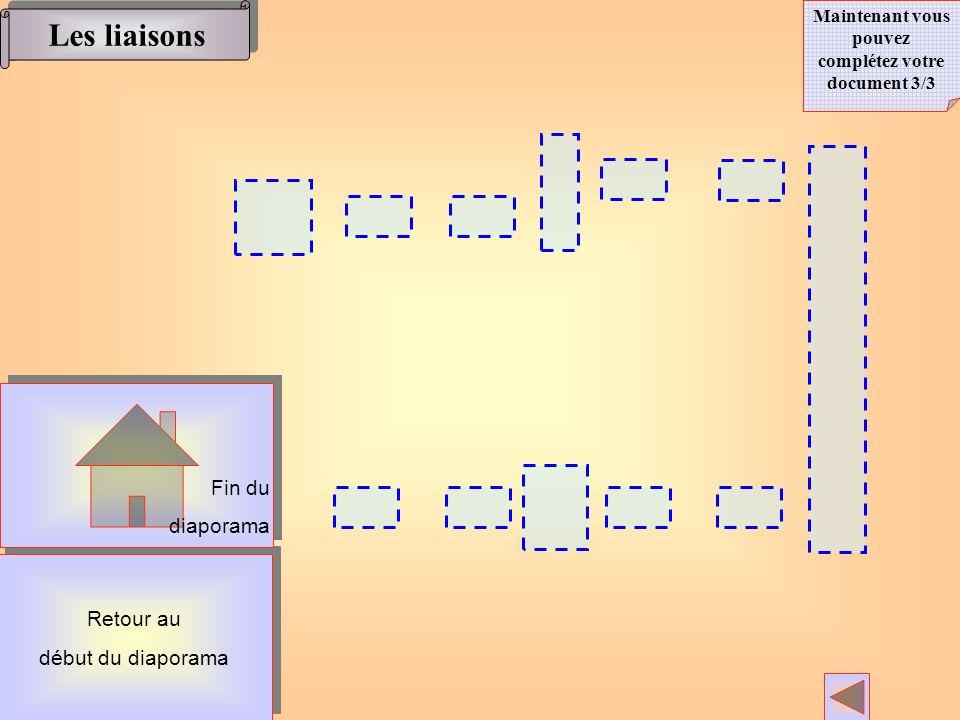 Les liaisons Maintenant vous pouvez complétez votre document 3/3 Retour au début du diaporama Retour au début du diaporama Fin du diaporama Fin du dia