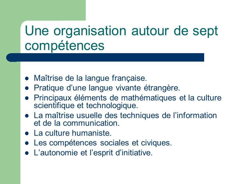 Une organisation autour de sept compétences Maîtrise de la langue française. Pratique dune langue vivante étrangère. Principaux éléments de mathématiq