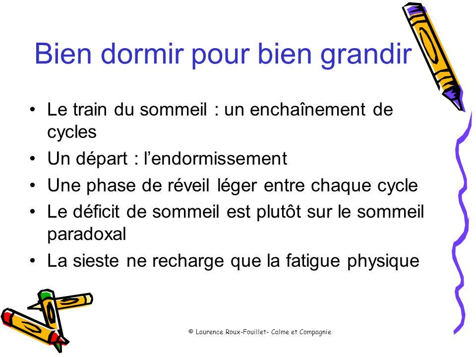 © Laurence Roux-Fouillet- Calme et Compagnie Bien dormir pour bien grandir Le train du sommeil : un enchaînement de cycles Un départ : lendormissement