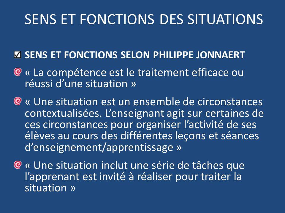 SENS ET FONCTIONS DES SITUATIONS SENS ET FONCTIONS SELON PHILIPPE JONNAERT « La compétence est le traitement efficace ou réussi dune situation » « Une