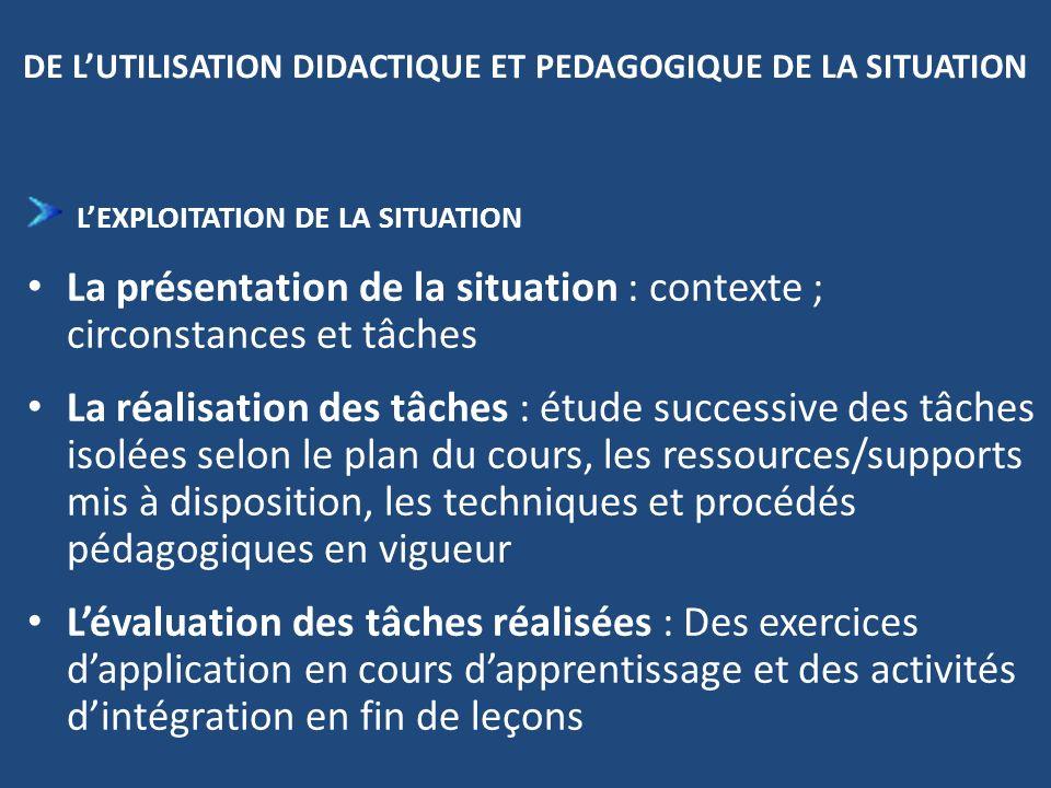 DE LUTILISATION DIDACTIQUE ET PEDAGOGIQUE DE LA SITUATION LEXPLOITATION DE LA SITUATION La présentation de la situation : contexte ; circonstances et