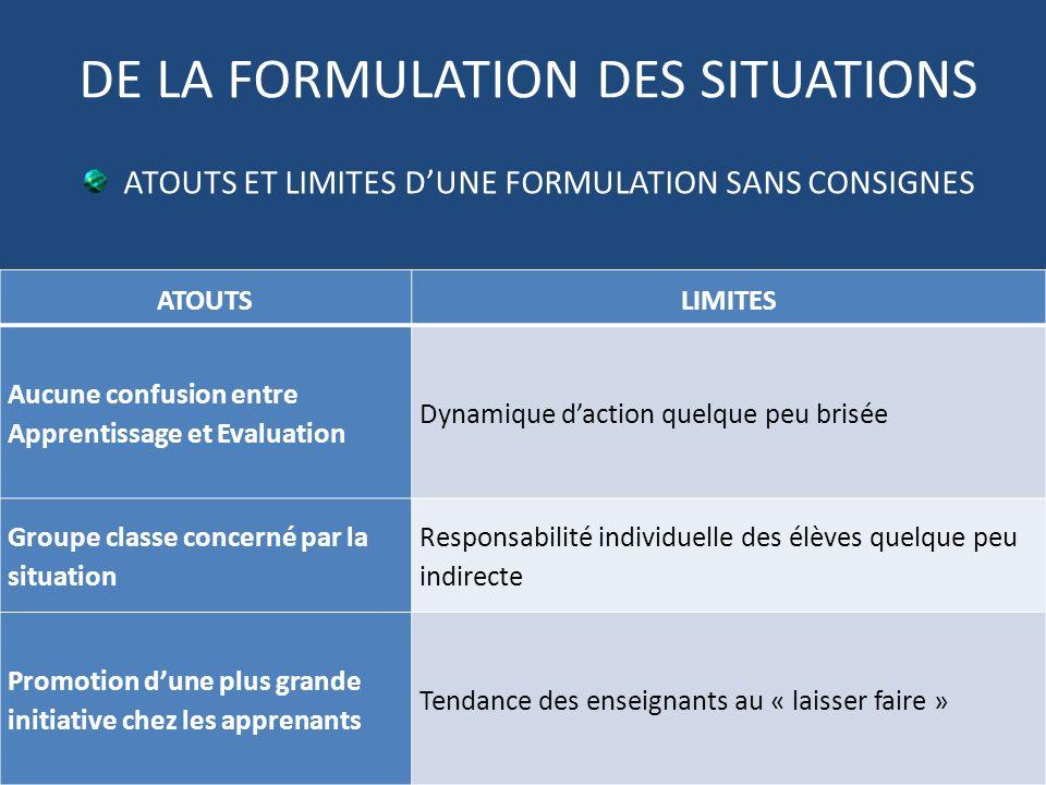 DE LA FORMULATION DES SITUATIONS ATOUTS ET LIMITES DUNE FORMULATION SANS CONSIGNES ATOUTSLIMITES Aucune confusion entre Apprentissage et Evaluation Dy