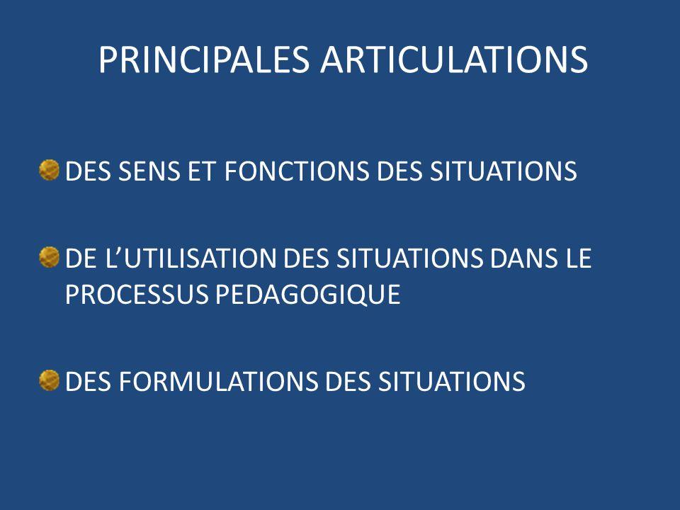 PRINCIPALES ARTICULATIONS DES SENS ET FONCTIONS DES SITUATIONS DE LUTILISATION DES SITUATIONS DANS LE PROCESSUS PEDAGOGIQUE DES FORMULATIONS DES SITUA