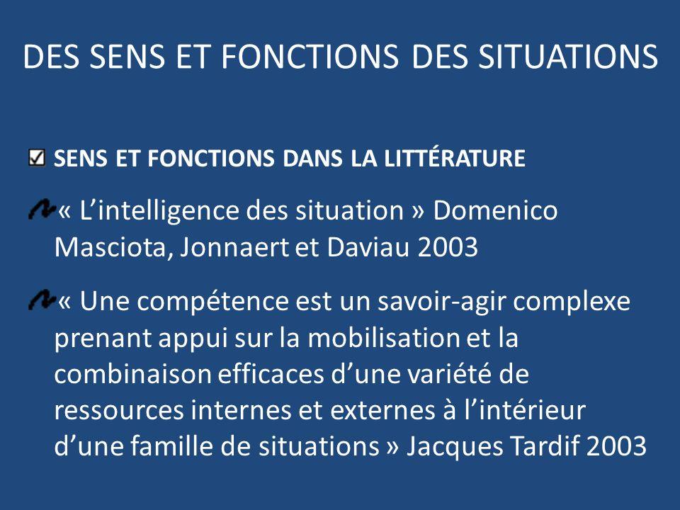 DES SENS ET FONCTIONS DES SITUATIONS SENS ET FONCTIONS DANS LA LITTÉRATURE « Lintelligence des situation » Domenico Masciota, Jonnaert et Daviau 2003