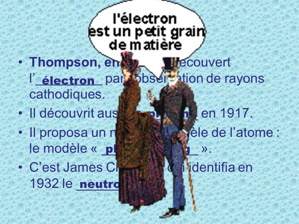 Thompson, en 1897, a découvert l_________ par lobservation de rayons cathodiques.