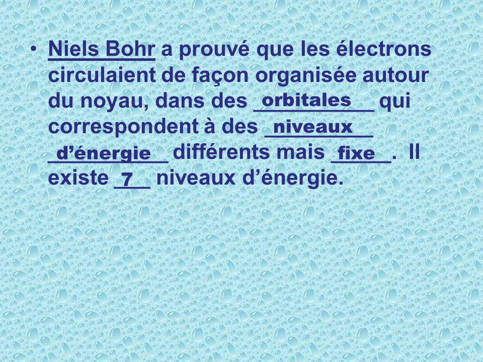 Niels Bohr a prouvé que les électrons circulaient de façon organisée autour du noyau, dans des __________ qui correspondent à des _________ __________ différents mais _____.