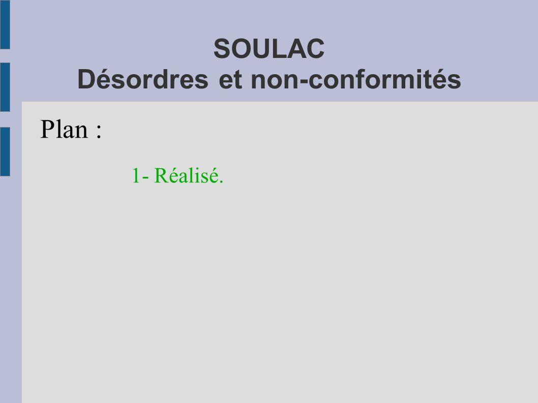SOULAC Désordres et non-conformités Plan : 1- Réalisé.