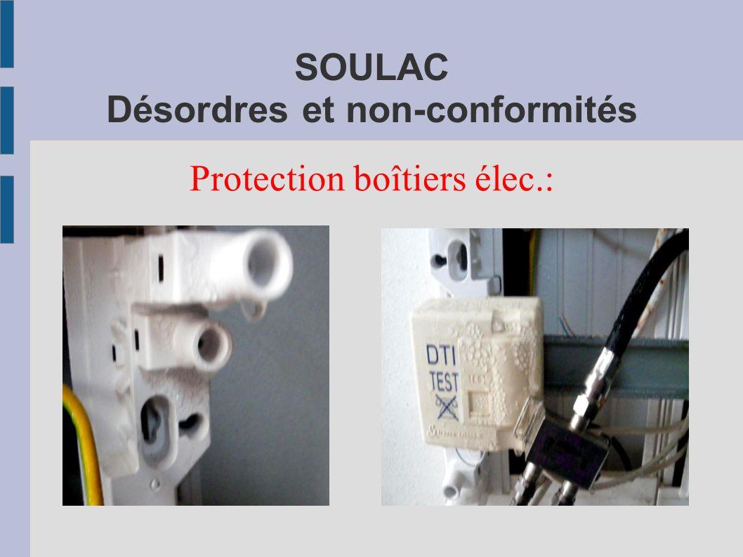 SOULAC Désordres et non-conformités Protection boîtiers élec.: