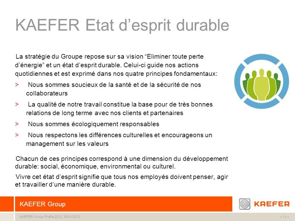 KAEFER Group – 11 –KAEFER Group Profile 2012, 30/01/2012 KAEFER Etat desprit durable La stratégie du Groupe repose sur sa vision Eliminer toute perte
