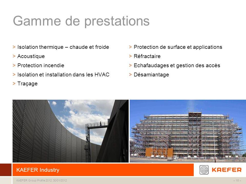 KAEFER Group – 18 –KAEFER Group Profile 2012, 30/01/2012 Gamme de prestations >Isolation thermique – chaude et froide >Acoustique >Protection incendie