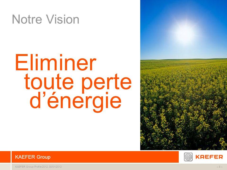 KAEFER Group – 8 –KAEFER Group Profile 2012, 30/01/2012 Notre Vision Eliminer dénergie toute perte