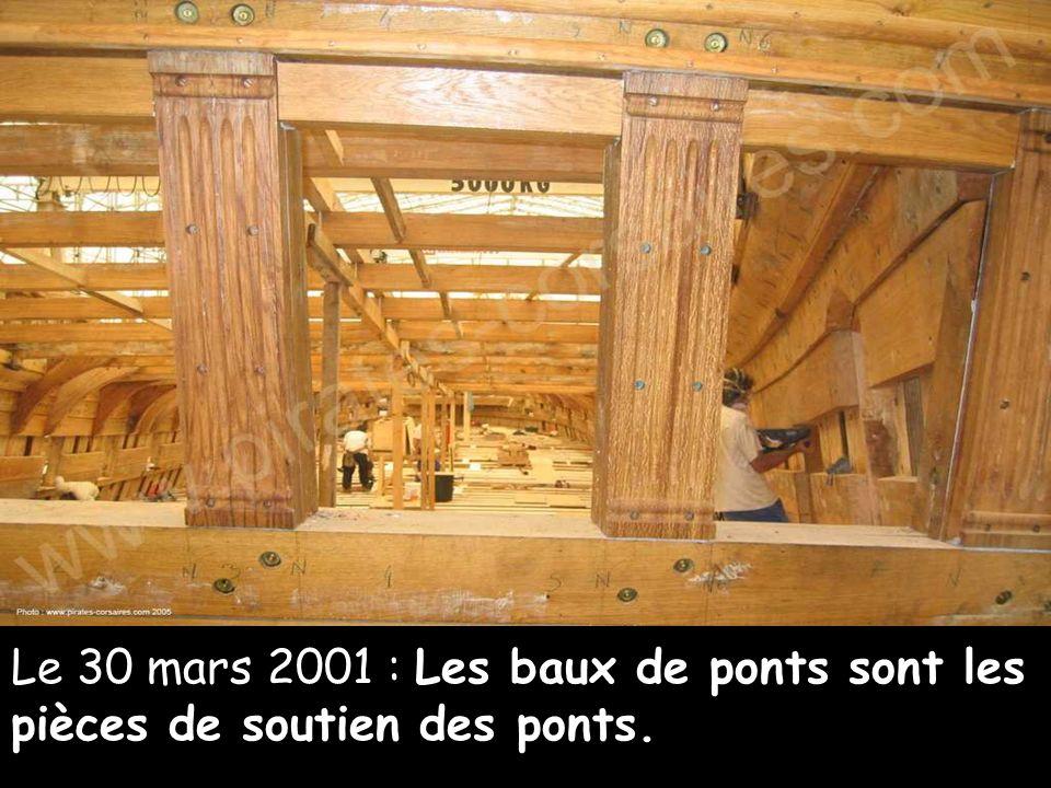 Le 14 décembre 2000 A l'intérieur, les charpentiers travaillent à la pose de pièces de structure posées à la base des couples : les serres d'empatures