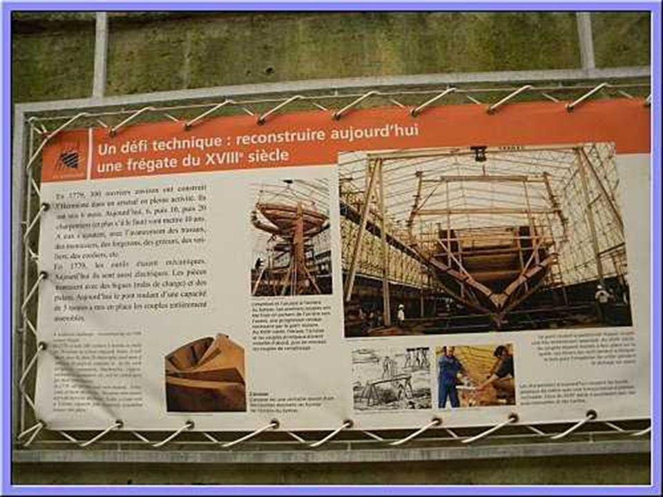 e 20 août 1997 Le 20 août 1997, grand moment d émotion, l arcasse ensemble de pièces de chêne de plus de 4,3 tonnes est relevée de la zone de montage puis, traversant toute la longueur de la forme, bloquée sur la quille.