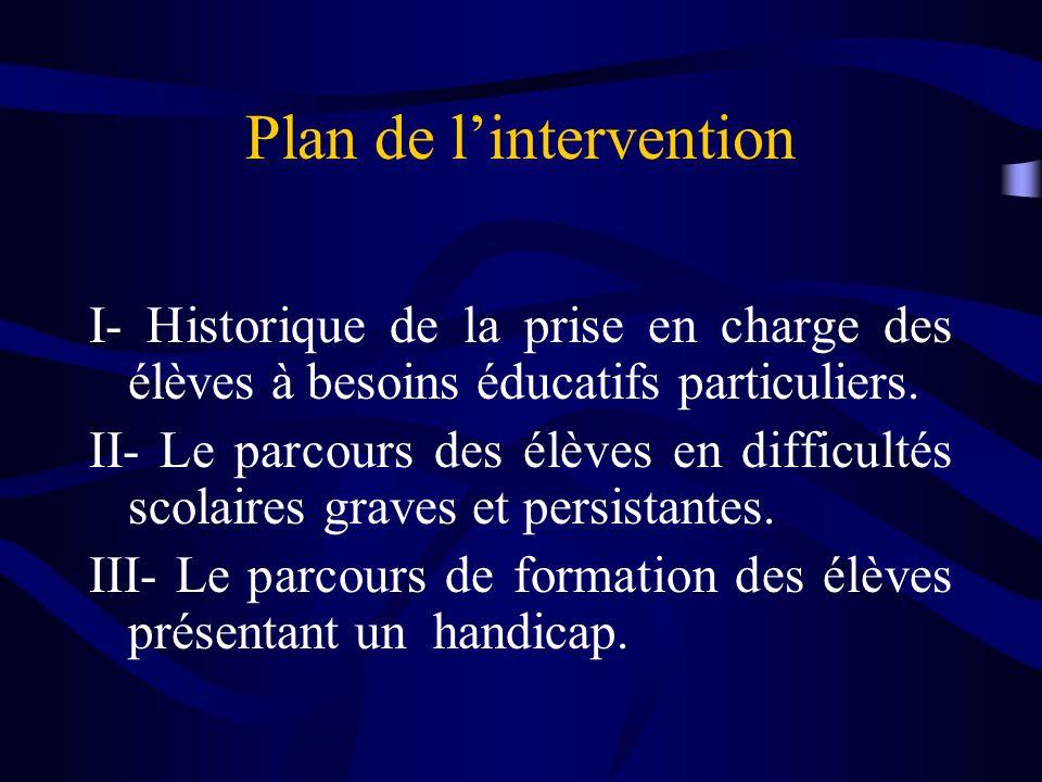 Plan de lintervention I- Historique de la prise en charge des élèves à besoins éducatifs particuliers.