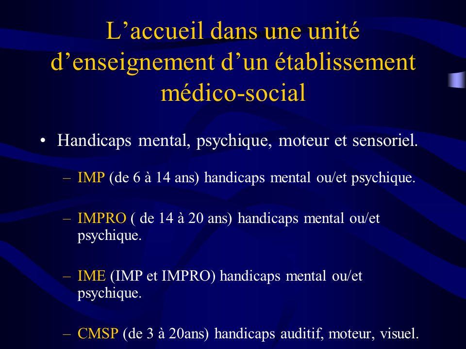 Laccueil dans une unité denseignement dun établissement médico-social Handicaps mental, psychique, moteur et sensoriel.