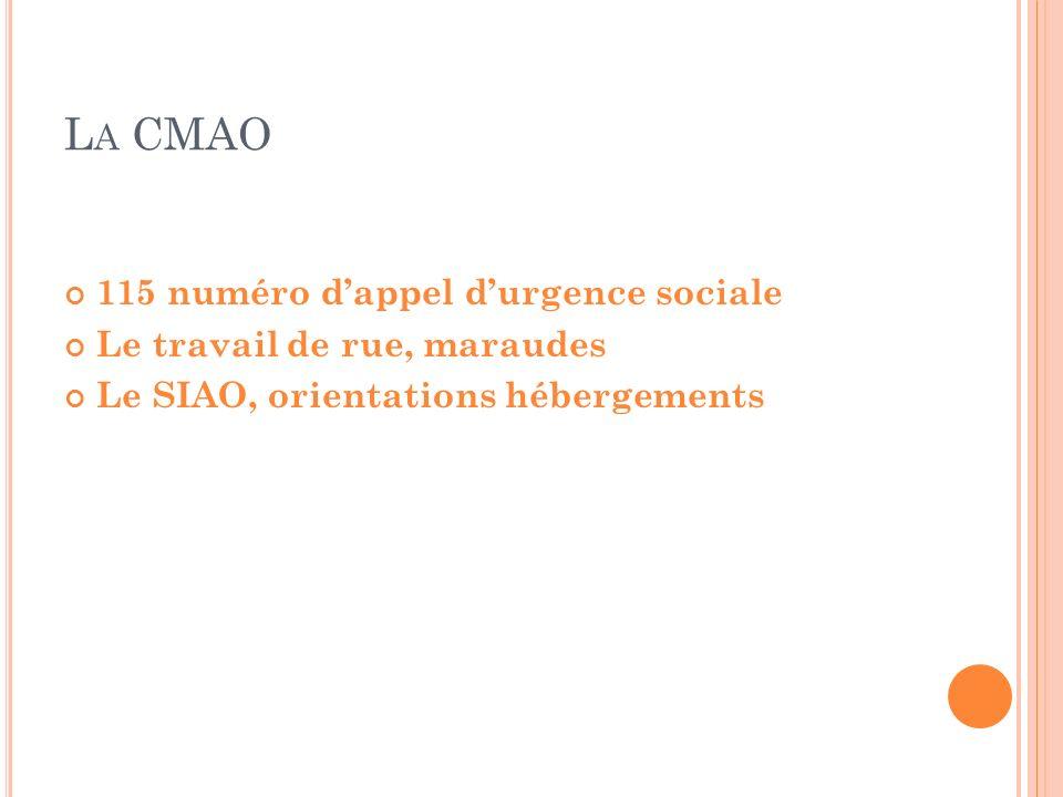 L A CMAO 115 numéro dappel durgence sociale Le travail de rue, maraudes Le SIAO, orientations hébergements