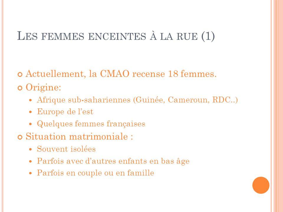 L ES FEMMES ENCEINTES À LA RUE (1) Actuellement, la CMAO recense 18 femmes. Origine: Afrique sub-sahariennes (Guinée, Cameroun, RDC..) Europe de lest
