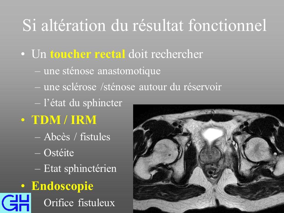 Si altération du résultat fonctionnel Un toucher rectal doit rechercher –une sténose anastomotique –une sclérose /sténose autour du réservoir –létat du sphincter TDM / IRM –Abcès / fistules –Ostéite –Etat sphinctérien Endoscopie Orifice fistuleux