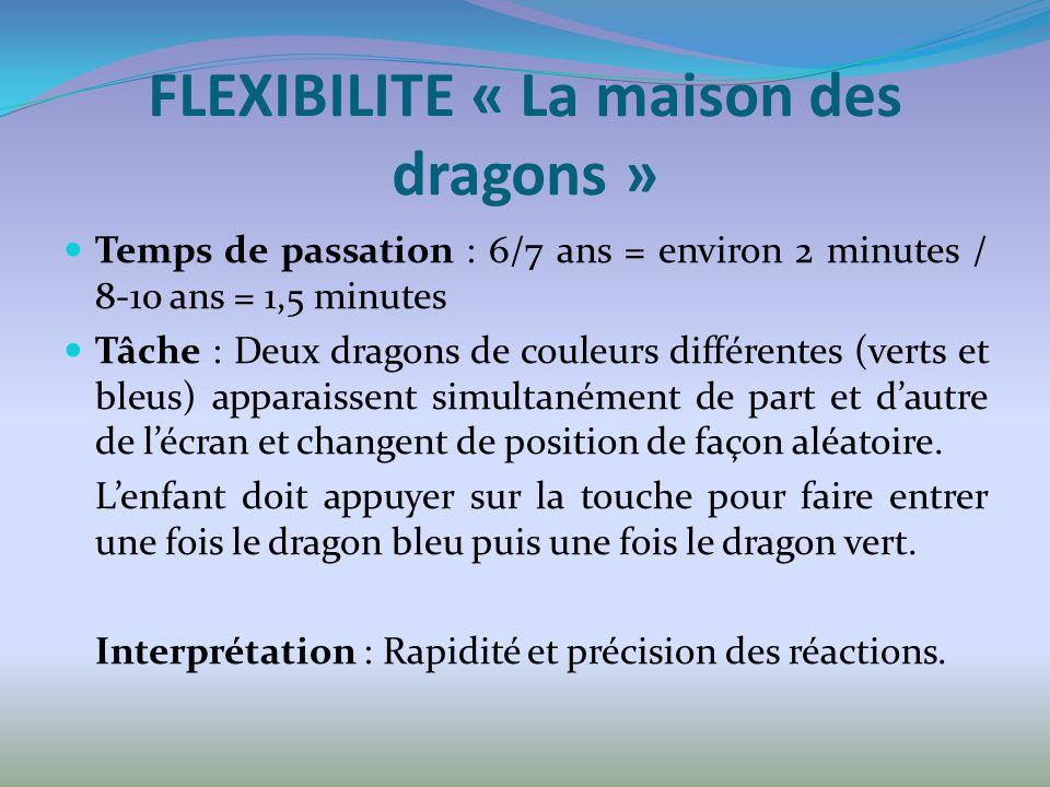 FLEXIBILITE « La maison des dragons » Temps de passation : 6/7 ans = environ 2 minutes / 8-10 ans = 1,5 minutes Tâche : Deux dragons de couleurs différentes (verts et bleus) apparaissent simultanément de part et dautre de lécran et changent de position de façon aléatoire.